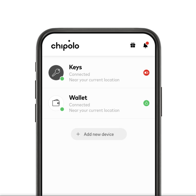 Chipolo app with low battery warning
