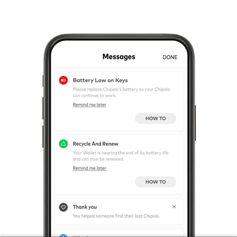 Chipolo app with low battery warning in message center